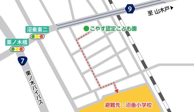 避難先の地図のイラスト